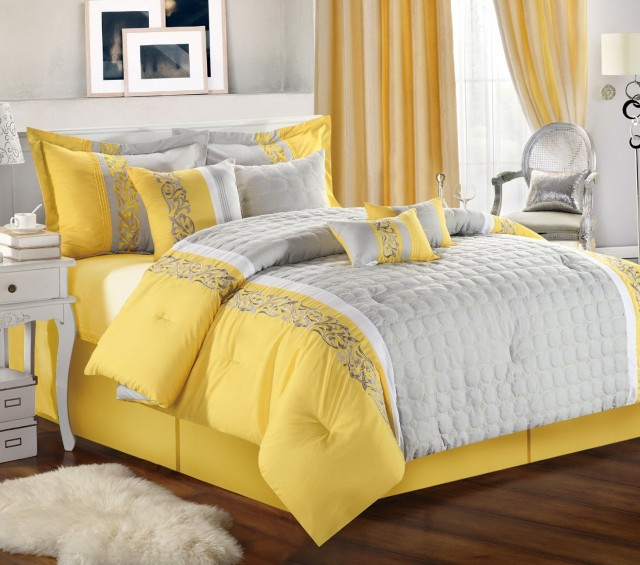 Yellow And Grey Bedding Set