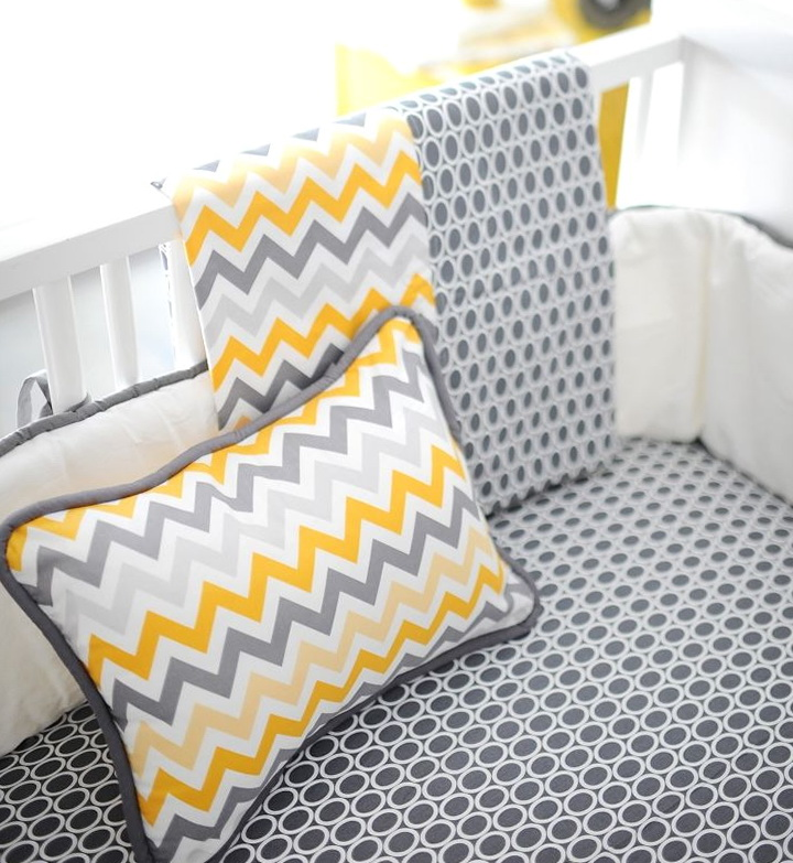Yellow And Grey Chevron Bedding