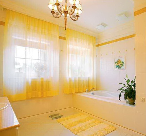 Yellow Bathroom Window Curtains